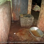 Total slaughter house is un clean and filled with animal left overs and total process is made only on floor